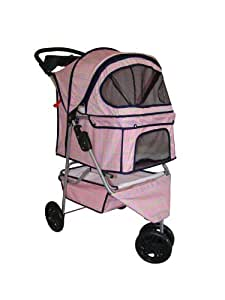 BestPet Plaid 3-Wheel Pet Stroller, Classic Pink