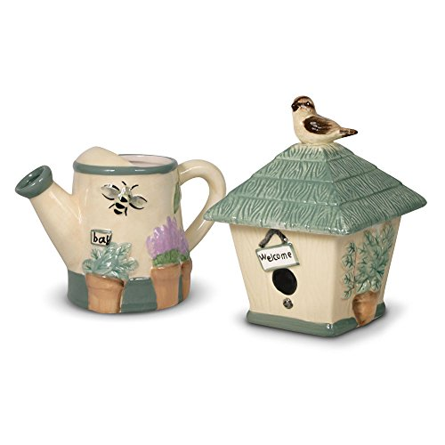 Pfaltzgraff Naturewood Birdhouse and Watering Can Sugar and