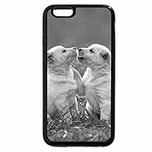 iPhone 6S Plus Case, iPhone 6 Plus Case (Black & White) - kissing pups