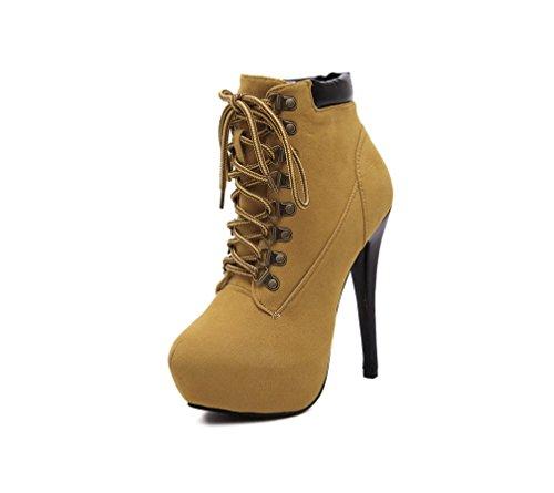 Einfarbig Ankle Damen Sexy LIANGXIE Kreuzriemen Bequeme ZHHZZ Hochhackige Baumwollschuhe Martin Stiefel Ferse Gelb Braun Boots 50dSqU