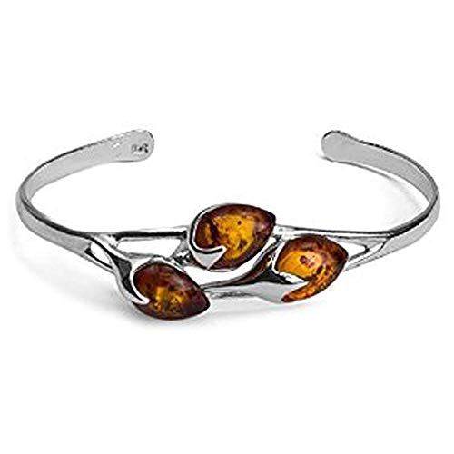 Sterling Silver Honey Amber Three-Stone Bangle