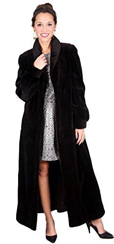 (Sheared Full Length Mink Fur Coat with Swing(Black,S))