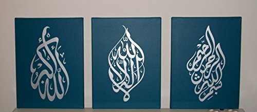 Islamic Arabic Calligraphy Painting, Handmade Wall Art Oil Paintings on Canvas 3pcs for Living Room Home Decorations Pictures Wooden Framed (Teal Silv…