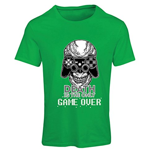 T Shirts For Women Game Over Cool Skull Face Gamer, Gaming Skeleton, Funny Game Quotes (X-Large Green Multi - One Voucher Balance Check For All