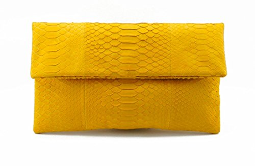 Python Leather Shoulder Handbag - Genuine Lemon Yellow Python Leather Classic Foldover Clutch Bag