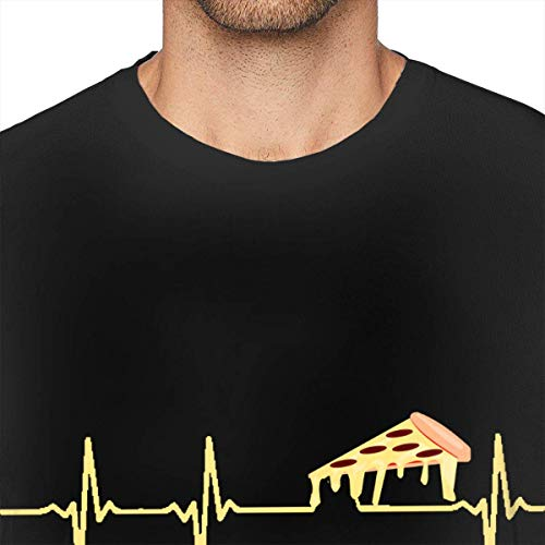 Pizza Heartbeat Camisetas Deportivas de Manga Corta para Hombre