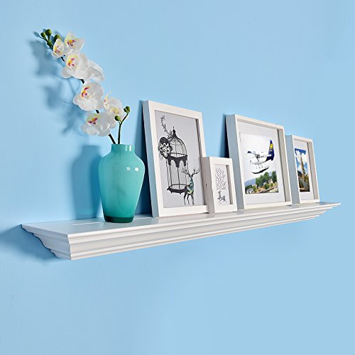 WELLAND Corona Crown Molding Floating Wall Photo Ledge Shelves Fireplace Mantel Shelf (60-Inch, White) Decorative Fireplace Mantels