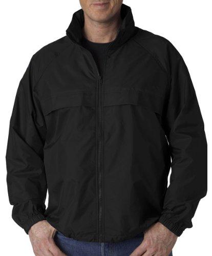 UltraClub mens Full-Zip Hooded Pack-Away Jacket(8929)-BLACK-XL ()