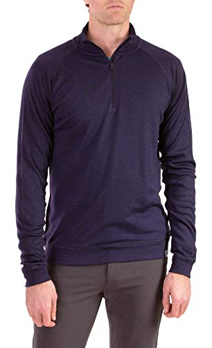 Woolly Clothing Men's Merino Pro-Knit Wool Quarter Zip Sweatshirt - Mid Weight - Wicking Breathable Anti-Odor - M NVY