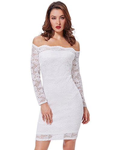 Off the Shoulder White Elegant Pencil Dress for Summer Wedding KK497-2(XL)