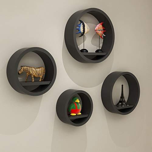 Circle Bracket Shelf - Floating Shelves Round Shape - Large Circle Hanging Wall Mount Shelf Set - Deep Shelves Perfect- Set of 4 (Color : Black)