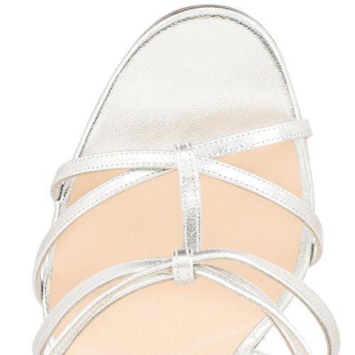 Onlymaker Damenschuhe Fashion High Heels Freie Toe Strap Riemchen Schnalle Sandale Silber