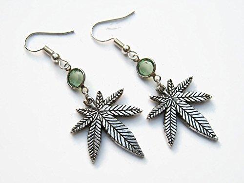 Pot Leaf Birthstone Earrings, Personalized Nature Earrings, Tree Leaves Earrings, Medical Marijuana Jewelry (Pots Personalized)
