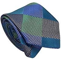 Gravata Slim Trabalhada Xadrez Importada Verde Cinza Roxo