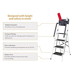 Allstar Innovations Simple Step 2 in 1 Step Stool and Ladder with Safety Rails and Bonus Ladder Caddy