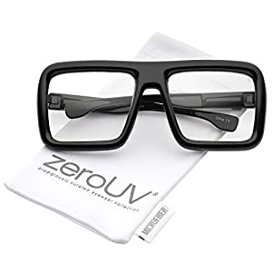 zeroUV - Oversize Bold Thick Frame Clear Lens Square Eyeglasses 58mm (Shiny Black / Clear Lens)