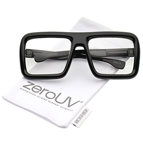zeroUV - Oversize Bold Thick Frame Clear Lens Square Eyeglasses 58mm (Shiny Black / Clear - Glasses For Lenses Thick Frames