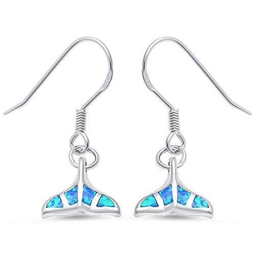 Sterling Silver Euro Hook Earrings (Lab Blue Opal Whale Tail Dangle .925 Sterling Silver Fishhook Dangle drop Earrings)