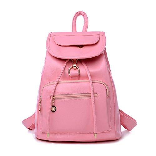 Mujer Mochila Mujer Escuela Bolsa De Cuero Para El Día Mochila,Chocolate Pink