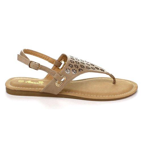 BellaMarie SAMI-1 Women Slingback Perforated SlipOn Gladiator Flat Thong Sandal, Color:TAUPE, Size:7