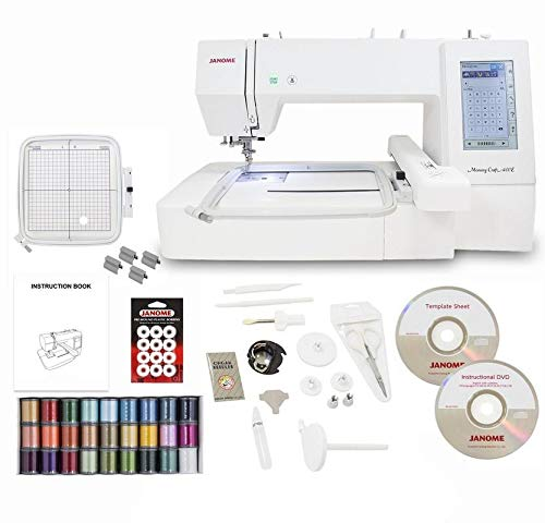 Janome Memory Craft 400E Embroidery Machine with Exclusive Bonus Bundle (Machine Embroidery Janome)