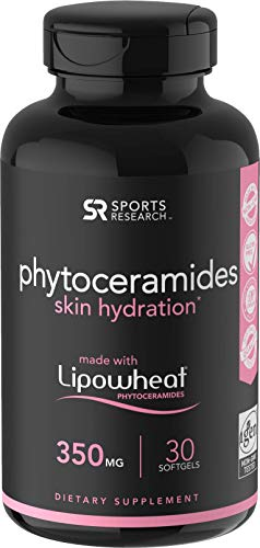Phytoceramides 350mg Made with Clinically Proven Lipowheat® | Plant Derived and GMO Free with No Fillers or Synthetic Vitamins - 30 Liquid softgels (Best Moisturizer For 30 Year Old)