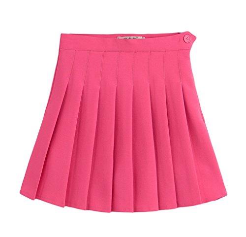 Smile Rose Sport Haute Jupe Plisse Courte Taille Femme Soire YKK Rouge Tennis Casual Et r7Yzwrq