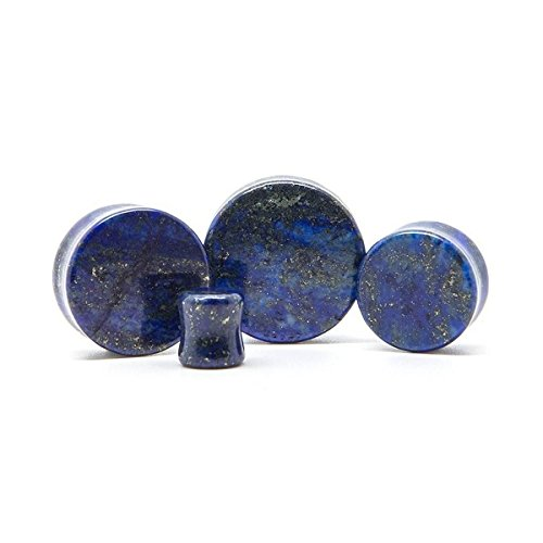 Gauge Lapis Natural Stone - Pair of Genuine Lapis Lazuli Organic Natural Polished Stone Ear Gauges Plugs (14mm)