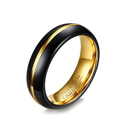 Tianyi Tungsten Wedding Band Ring 6mm for Men Women Polished Gold Plated Center Line Size 12
