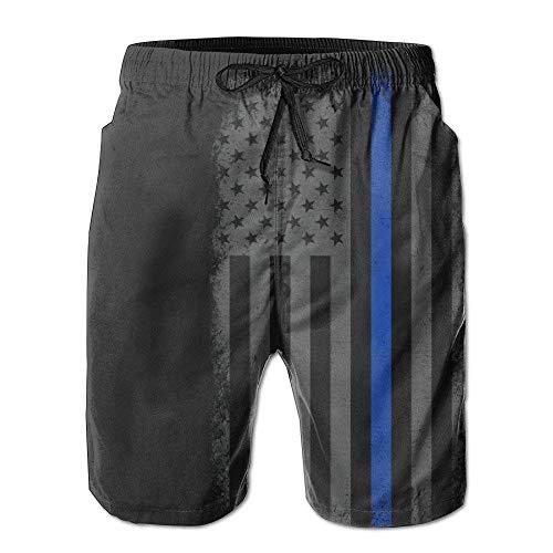 ZQKCMY Men's Thin Blue Line Flag Retro Summer Holiday Quick-Drying Swim Pants Beach Shorts Board Shorts, Size M