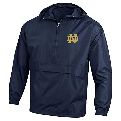Half Zip Wind Jackets - Champion NCAA Men's Half Zip Front Pocket Packable Jacket Notre Dame Fighting Irish Large