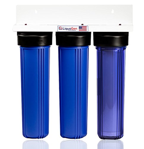 LiquaGen Triple Big Blue Whole House Drinking Water Filtration System (4.5