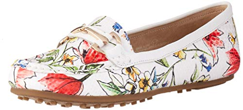 Aerosoles Women's Along Driving Style Loafer, White Floral, 8 M US ()