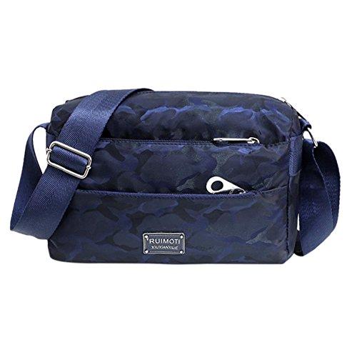 moda in di borse tracolla Borsa a Scuro nylon impermeabile tracolla casual Blu cerniera Camo donna w1qHxpA5