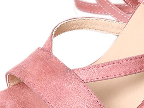 WINWINTOM Women's Sandals Ladies Ankle High Heels Block Party Open Toe Shoes Pink rM4p6ykEyD