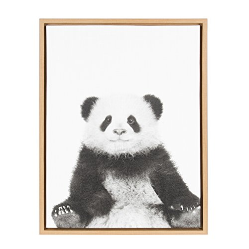 Kate and Laurel Sylvie Sitting Panda Black and White Portrait Framed Canvas Wall Art by Simon Te Tai, 18x24 Natural