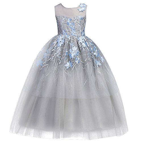 Little Big Girl Flower Maxi Tutu Tulle Wedding Princess Long Dress Ruffles Vintage Embroidered Formal Bridesmaid Gowns 5-17T Grey Blue 10-11 Years ()