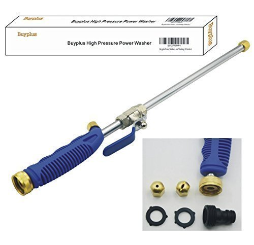 High Pressure Power Washer Wand - Water Hose Nozzle, Garden Hose Sprayer for Car Wash and Window Washing, 2 tips-one is power jet stream, one is fan action (18 inches) (Water Wand O-ring)