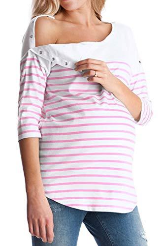 sopra Jumojufol Strisce di Allattamento Magliette Le Bottoni con Rosa Donne RO4nUqR