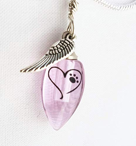 (Heart Paw Print Angel Wing cremation Jewelry Urn Necklace Handmade Pet Memorial-PINK)