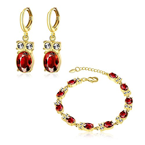 Women's 18K Gold Plated Alloy Cubic Zircon Red Resin Stone Owl Pendant Dangle Earrings Wedding Jewelry Set Bracelet Hand Chain Pack of 2