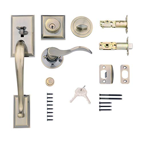 Brass Lever Finished Antique Door - AmazonBasics Modern Door Handle and Deadbolt Lock Set, Left-Hand Wave Door Lever, Antique Brass