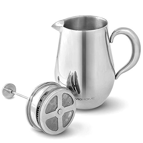 Cafetiere French Press Coffee Maker by VeoHome -Stainless steel Unbreakable and keeps coffee hotter for a long time thanks to its double wall (1 Liter) (Steel Press French)