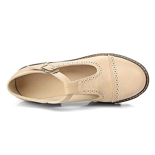 COOLCEPT Mujer Moda Chunky Heel Correa En T Al Tobillo Bombas Zapatos Plataforma Beige
