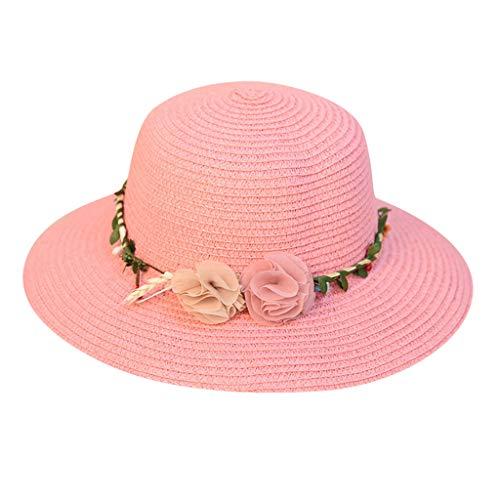 XILALU Women Beach Straw Hat Jazz Sunshade Panama Trilby Fedora Hat with Two Flower Cap Pink ()