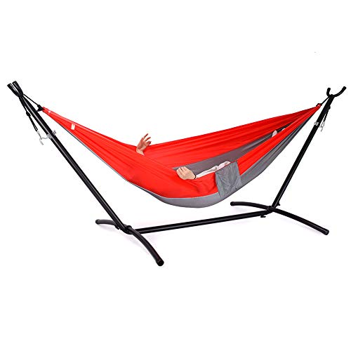 Zupapa Camping Hammock with Portable Stand, Lightweight Parachute Nylon Hammock Heavy Duty 2 Person Hammock Stand Set 550lbs Capacity Hammock with Stand for Travel Beach Yard Indoor Outdoor