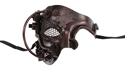 [KAYSO INC Steampunk Phantom Of The Opera Mechanical Venetian Masquerade Mask (Vintage Bronze)] (Steampunk Costumes Men)