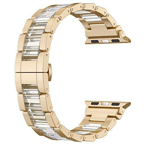 Wearlizer Scrub Gold Compatible Apple Watch Band 38mm 40mm Mens Womens iWatch Lightweight Aluminum Clear Resin Wristband Unique Strap Replacement Fashion Metal Clasp Series 4 3 2 1 Sport Edition