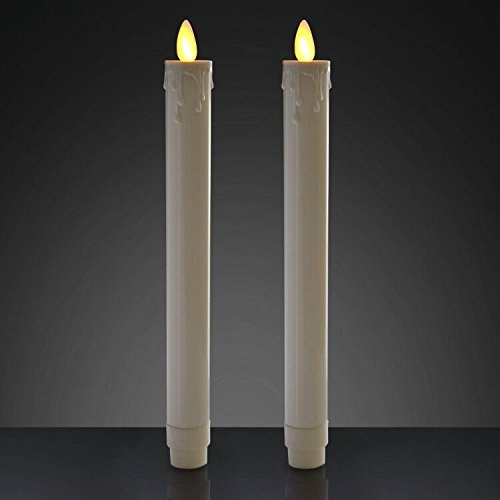 TELOSMA Flameless Moving Wick Flikering Dripping Taper Candle Dinner Table Centerpieces Window Decor