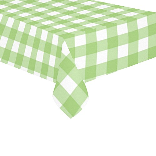 InterestPrint Home Seamless Gingham Checkered Cotton Linen Tablecloth 60 X 120 Inches, Lime Green Check Desk Sofa Table Cloth Cover for Party Decor ()